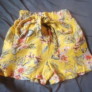 Yellow, Floral Print Zara High Waisted Shorts Smal